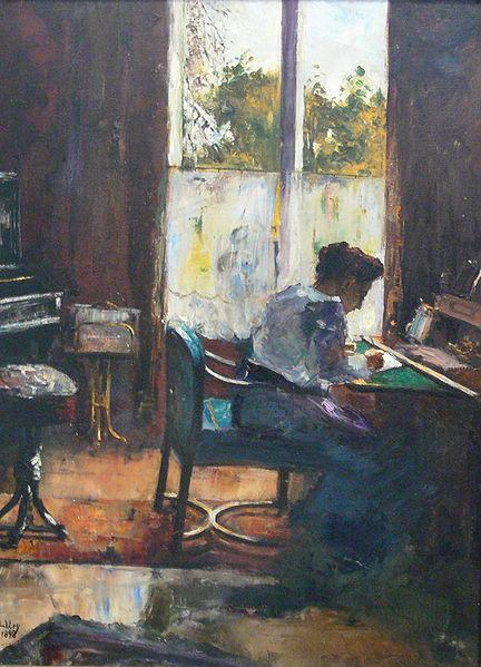 'Frau am Schreibtisch' by Lesser Ury (1898)