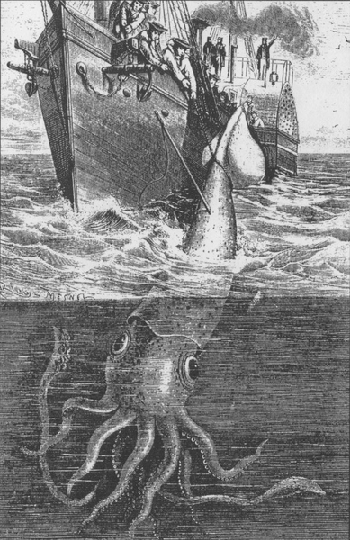 The Alecton attempts to capture a giant squid off Tenerife in 1861. Illustration from Harper Lee's 'Sea Monsters Unmasked', London, 1884.