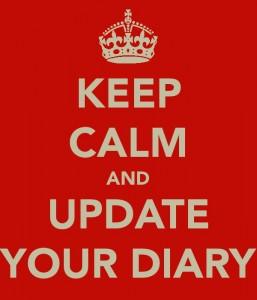 'Keep Calm and Update Your Diary' poster