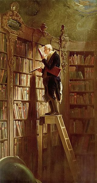 'The Bookworm' by Carl Spitzweg (1850)