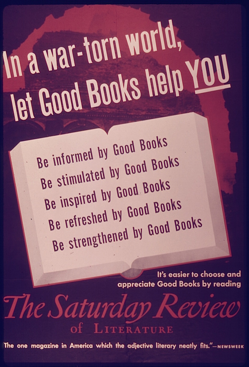 'In a war-torn world, let good books help you', WWII poster, U.S. Office of War Information