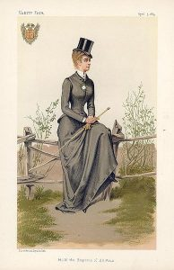 Caricature of Elizabeth the Empress of Austria. Published in Vanity Fair, 5 April 1884.