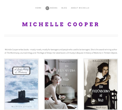 Screenshot of updated michellecooper-writer.com author home page